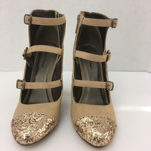 Michael Antonio Strappy Boots with Gold Sparkles